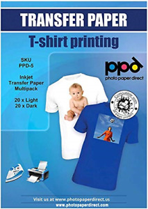 Ppd Inkjet Iron on Mixed Light And Dark Transfer Paper Ltr 8 5x11 Pack Of 40
