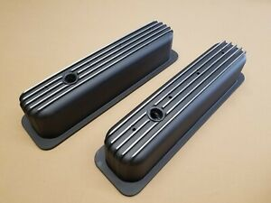 Sbc Tall Valve Covers For Vortec Black Aluminum Polished Fins Never Used