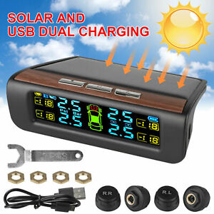 Solar Tpms Wireless Auto Car Tire Pressure Lcd Monitoring System W 4 External