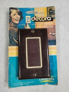 Vintage Brown Decora 3 Way Switch Outlet Wall Cover Plate Leviton Nos