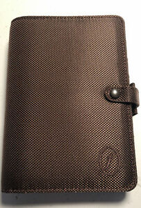 Vtg Brown Nylon Filofax 6 Ring College Organizer Snap Closure Personal Size