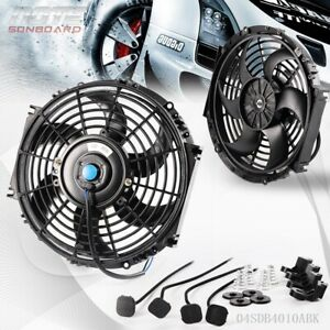 10 12v 80w Universal Slim Fan Push Pull Electric Radiator Cooling Mount Fan