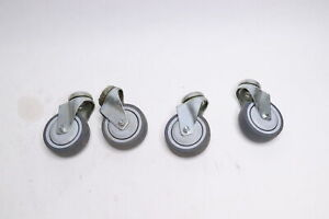 4 Stemless Swivel Casters 3 X 1 Rubber Wheel X 1 2 stem Hole 4 pack
