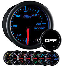 Used Glowshift Tinted 7 Color 60 Psi Diesel Boost Truck Gauge W Fittings