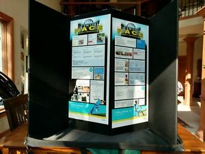 Pactiva Tabletop Table Top Trade Show Conference Display 4 Panel 14 x35 Black