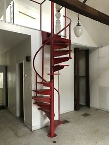 Vintage Iron Oak Spiral Staircase Antique Mid Century