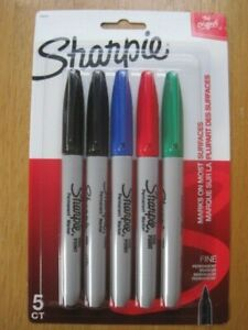 Sharpie 5 Pack Fine Assorted Colors Black Blue Red Green Permanent Markers