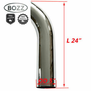 5 5 Inch Od X 24 Chrome Curved Exhaust Stack Pipe 24in Overall Length Tube