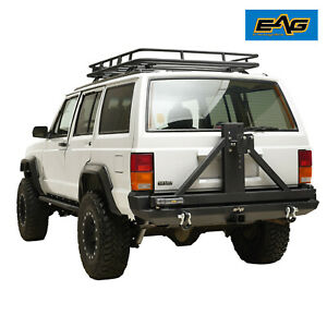 Eag Fits 84 01 Jeep Cherokee Xj Rear Bumper W Tire Carrier Hitch Receiver