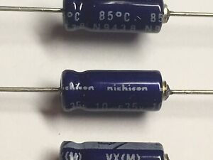 Nichicon Capacitors Axial 10uf 35v Tested Lot Of 20 New