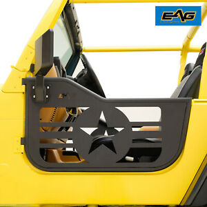 Eag Military Replacement Tube Door With Mirror Fit For 97 06 Jeep Wrangler Tj