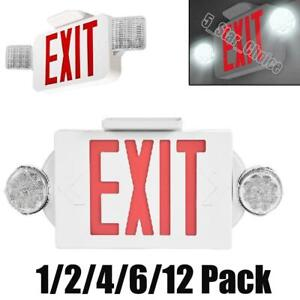 1 2 4 6 12pcs Led Exit Sign Emergency Light Lamp Red Dual Head Compact Combo Ul