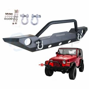 Front Bumper W Winch Plate D rings Black Textured For Jeep Wrangler Jk 2007 2018