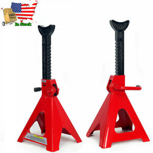Pair Of 12 Ton Car Jack Stands Adjustable Height Auto Body Shop Safety Tool Red