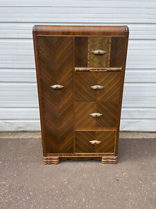 Vintage Art Deco Waterfall Wardrobe Closet Dresser With Ornate Pulls