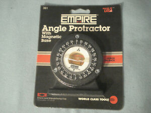 New In Package Empire Magnetic Angle Protractor Usa Made 2 75 X 3 4