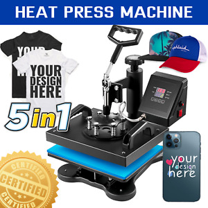 5 In 1 Heat Press Machine Transfer Sublimation T Shirt Printing 360 12 X 10