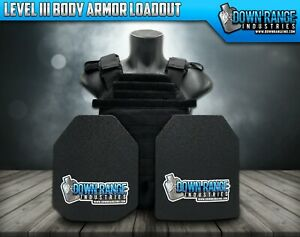 AR500 Level 3 III Body Armor Plates 10x12 with Molle Vest Carrier 2DAY SHIPPING $134.96