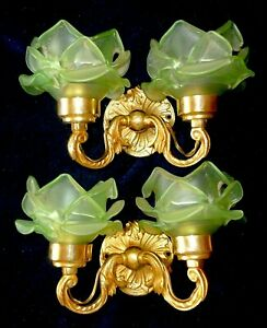 Pair Of Small French Vintage Gilded Brass Wall Sconces With Green Rose Shades