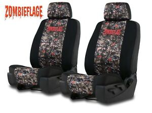 Neoprene Zombie Camo Seat Covers For A Pair Of Low Back Bucket Seats