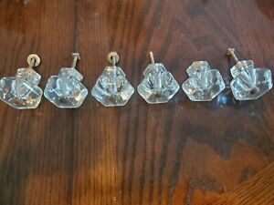 6 Vintage Six Sided Clear Glass Drawer Knobs Pulls Smaller Glass Knob