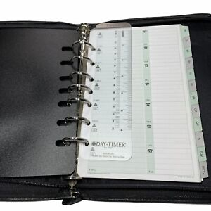 Day Timer Planner Organizer Black 7 Ring Binder Expenses Contacts Address Zipper