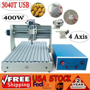 Usb 4 Axis 3040 Cnc Engraving Milling Machine Router Engraver Carving 400w Er11