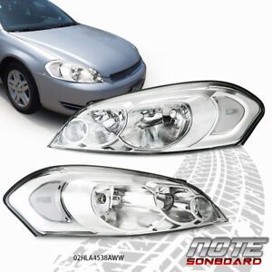 Fit For 06 16 Impala Limited Chrome Housing Clear Corner Headlight Head Lamps