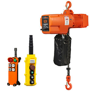 Prowinch 1 2 Ton Electric Chain Hoist Wireless 20ft Lifting Height G80 Chain Wat