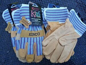 Lot Of 6 Kinco Grain Leather Palm Kid s Children s Gloves Age 7 12 New 1917