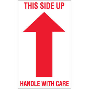 3 X 5 this Side Up Handle With Care Arrow Labels 500 roll