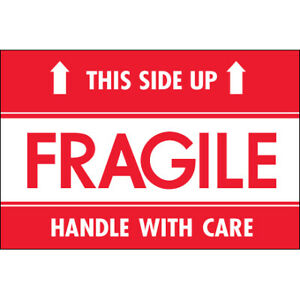 2 X 3 fragile This Side Up Hwc Labels 500 roll Red white