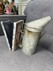 Vintage primitive Bee Hive Smoker By A i Root Co Leather Bellows Good Compres