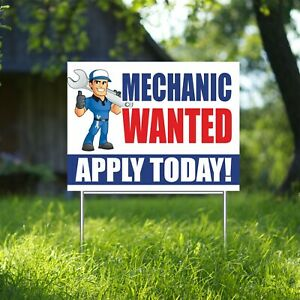 Mechanic Wanted Apply Today Yard Sign Corrugate Plastic With H stakes Lawn Sign