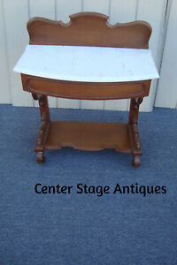 61667 Antique Victorian Marble Top Console Table Nightstand Stand Washstand