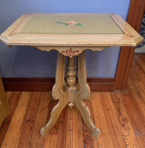 Antique 1900s Victorian Cottage Side Table Painted Green Floral Pedestal Accent