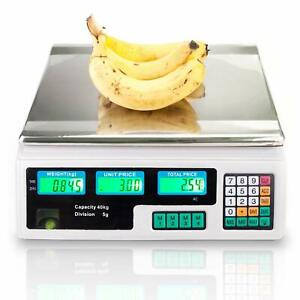 88lb 40kg Electronic Price Computing Scale Digital Deli Food Produce Weight