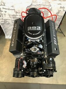 383 R Stroker Crate Engine A C 525hp Roller Turnkey Pro Street Chevy Sbc 383 383