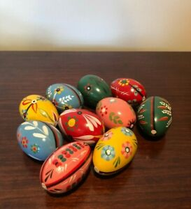 Vintage Lot Of 10 Polish Wooden Easter Eggs Vivid Hand Painted