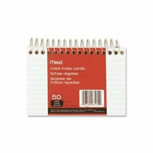 Meadwestvaco 63130 3 X 5 White Wirebound Ruled Index Cards 50 Count