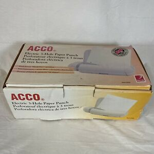Acco Electric 3 hole Paper Punch Model 525 White Original Packaging Tested