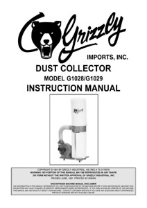 Grizzly G1029 Wood Dust Collector 2hp 220v