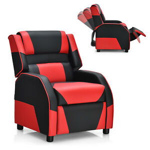 Giantex Kids Youth Gaming Sofa Recliner W headrest Footrest Pu Leather Red