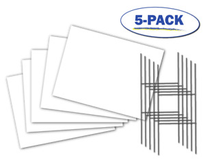 Blank Yard Signs 5 pack White 18 X 24 With 24 X 10 Double H Stakes