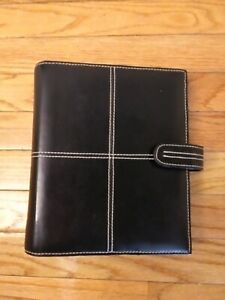 Franklin Covey Classic Black Genuine Leather Binder Beautiful Condition