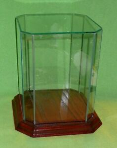 Glass Wood Cut corners Octagonal Table Top Glass Display Case And Base 8 5 8