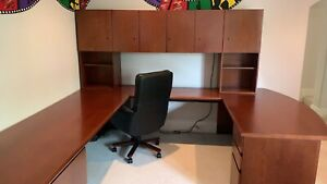 Geiger Brickel U Shaped Office Desk With Hutch And File Cabinet