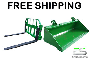 John Deere Jd 66 Smooth Bucket And 48 Pallet Forks Combo Free Shipping