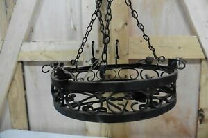 Vintage Solid Wrought Iron Chandelier Lighting Hanging Gothic Victorian 7hx22w