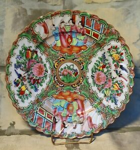 Chinese Export Rose Canton Fluted Edge Dinner Plate C 1855